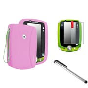 Insten Pink Rubber Skin Cover Case+Anti-Glare SPT+Silver Pen For LPF LeapPad 1 2 3 Explorer