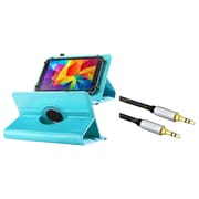 "Insten Baby Blue 7"" Tablet Leather Case with Stand Universal (+ 3.5mm Aux Auxiliary Audio Stereo Extension M/M Cable)"