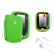 Insten Green Skin Gel Rubber Shell Case+Matte Protector+Headset For LeapFrog LeapPad 2
