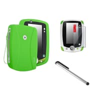 Insten Green Skin Gel Rubber Shell Case+Clear Protector+Stylus Pen For LeapFrog LeapPad 2