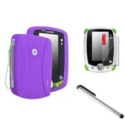 Insten Purple Rubber Skin Cover Case+Clear SPT+Silver Stylus For LPF Leappad 2 Explorer