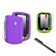 Insten Purple Gel Skin Cover Case+Black Pen+Anti-Glare SPT For LPF LeapPad 1 2 3 Explorer