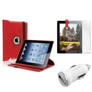 Insten Red 360 Magnetic Leather Case+Protector Guard+Car Charger for iPad 4/3/2 3G (Supports Auto Sleep/Wake)
