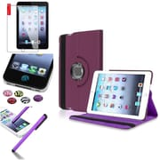 Insten Purple 360 Degree Rotating Leather Case Cover Stand for Apple iPad Mini 3 2 1+Sticker