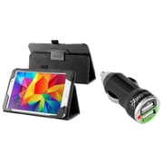 Insten Black Leather Tablet Case For Samsung Galaxy Tab 4 7.0 7 inch T230 SM-T230 (with 2-Port USB Car Charger Adapter)