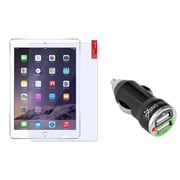 Insten Clear Screen Protector Guard For Apple iPad Air 1 / Air 2 (with 2-Port USB Car Charger Adapter)