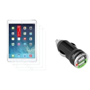 Insten 3 Packs Matte Guard for Apple iPad Air 2nd 1st Gen (w/ 2-Port USB Car Charger Adapter)