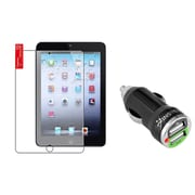 Insten Matte Protector For Apple iPad Mini 3 3rd / 2 2nd Retina Display / 1 1st (w/ 2-Port USB Car Charger Adapter)
