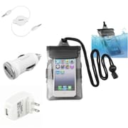 Insten Black Waterproof Bag Cover Case+Car+Home Charger+Cable For Apple iPod Touch 1 2 3 4 5