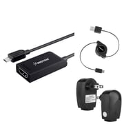 Insten Micro USB to HDMI MHL Adapter + AC Charger + Retractable Cable For Samsung Galaxy S III / S IV / SV S5 / Note III