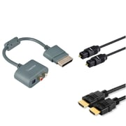 Insten RCA Digital Toslink Adapter+Optical Fibre cable+25FT Hdmi Cable for XBOX 360 TV