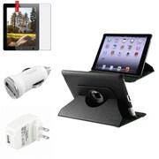Insten iPad 4 3 2 Black 360 Rotating Leather Case+Anti-Glare Pro+AC+Car Charger (Supports Auto Sleep/Wake)