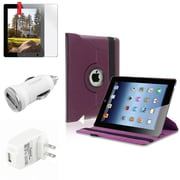 Insten Purple 360 Rotating Leather Case+Film Guard+AC+Car Charger for iPad 3rd 4th 2nd (Supports Auto Sleep/Wake)