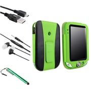 Insten Green Leather Case with Stand + Stylus + Headset + Cable for Leapfrog LeapPad Ultra/Ultra Xdi