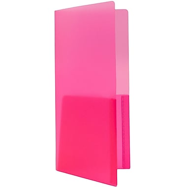 JAM Paper® Plastic Heavy Duty Mini Two Pocket Folders, Small, 4 1/4 x 9 1/8, Pink, 6/pack (96451D)