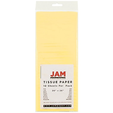 JAM Paper® Tissue Paper, Yellow, 10/Pack (1152359)