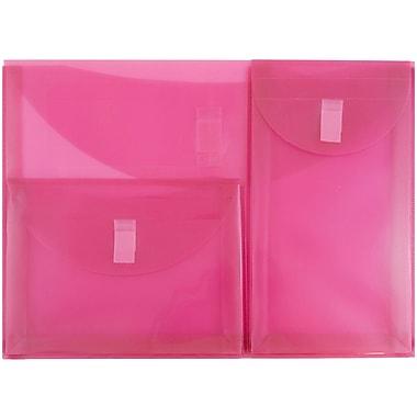 JAM Paper® Plastic 3 Pocket Envelopes, VELCRO® Brand Closure, Letter Booklet, 9.75 x 13, Pink Poly, 1/pk (167425929)