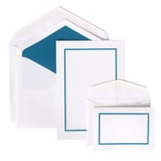 JAM Paper® Colorful Border Stationery Set Combo, 50 Large Cards Envelopes, 100 Small Cards Envelopes, Blue, 100/set (2237719064)