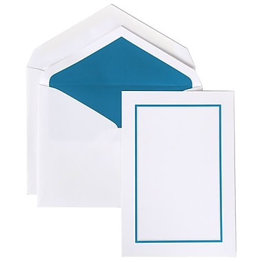 JAM Paper® Colorful Border Stationery Set, 52 Large Cards and 50 Envelopes, Blue (2237719070)