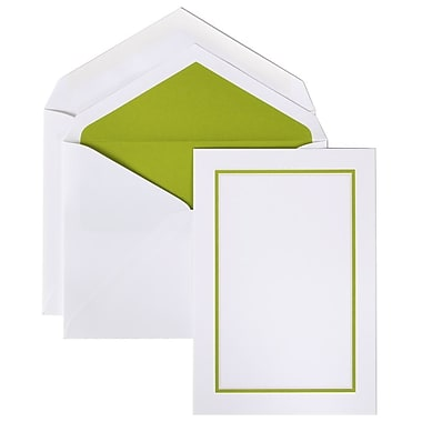 JAM Paper® Colorful Border Stationery Set, 52 Large Cards and 50 Envelopes, Lime Green (2237719071)