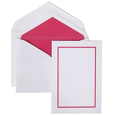 JAM Paper® Colorful Border Stationery Set, 52 Large Cards and 50 Envelopes, Pink (2237719073)