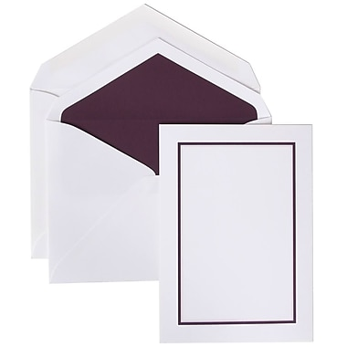 JAM Paper® Colorful Border Stationery Set, 52 Large Cards and 50 Envelopes, Purple (2237719074)