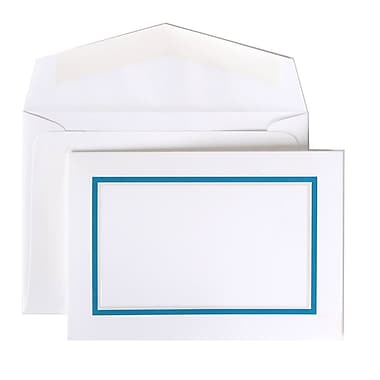 JAM Paper® Colorful Border Stationery Set, 104 Small Cards and 100 Envelopes, Blue (2237719076)