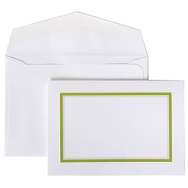 JAM Paper® Colorful Border Stationery Set, 104 Small Cards and 100 Envelopes, Lime Green (2237719077)