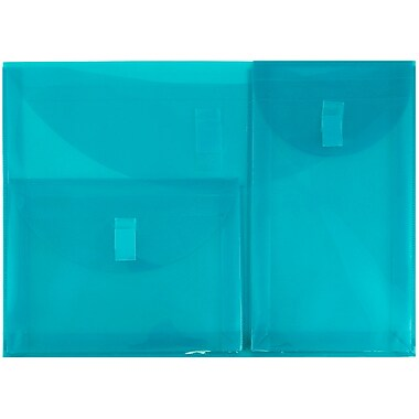 JAM Paper® Plastic 3 Pocket Envelopes, VELCRO® Brand Closure, Letter Booklet, 9.75 x 13, Teal Blue Poly, 1/pk (3163613468)