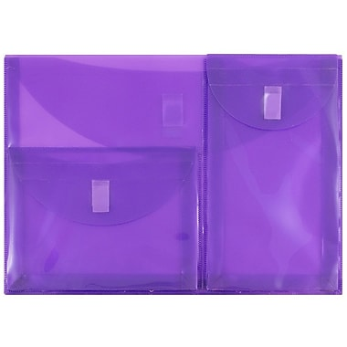 JAM Paper® Plastic 3 Pocket Envelopes, VELCRO® Brand Closure, Letter Booklet, 9.75 x 13, Purple Poly, 1/pk (3163613469)