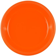 JAM Paper® Round Plastic Plates, Small, 7 Inch, Orange, 20/pack (7255320686)