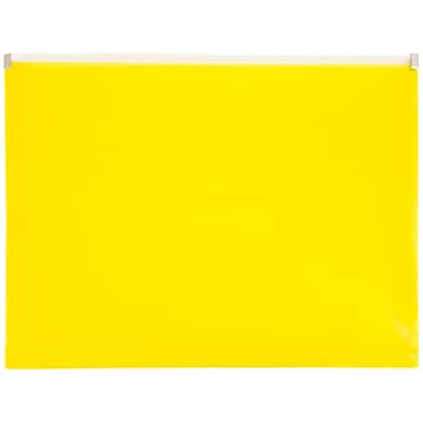 JAM Paper® Plastic Envelopes with Zip Closure, Letter Booklet, 9.5 x 12.5, Yellow Poly, 12/pack (218Z1YE)