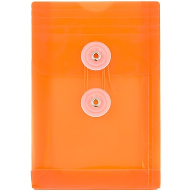 JAM Paper® Plastic Envelopes with Button and String Tie Closure, Open End, 4.25 x 6.25, Orange Poly, 12/pack (473B1OR)