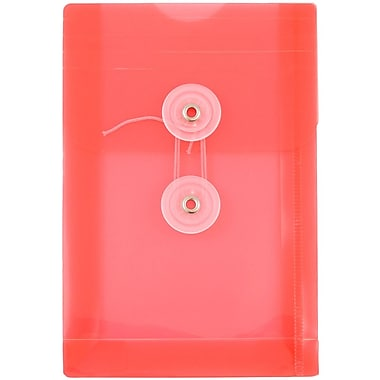 JAM Paper® Plastic Envelopes with Button and String Tie Closure, Open End, 4.25 x 6.25, Red Poly, 12/pack (473B1RE)