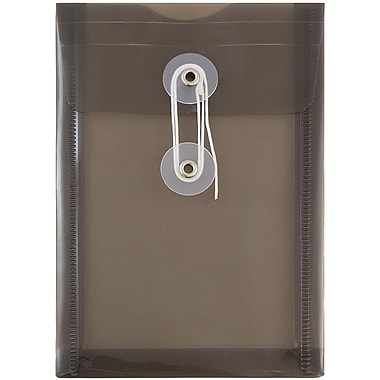 JAM Paper® Plastic Envelopes with Button and String Tie Closure, Open End, 4.25 x 6.25, Smoke Grey Poly, 12/pack (473B1SM)