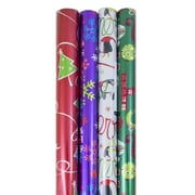 JAM Paper® Christmas Holiday Gift Wrapping Paper, 25 sq. ft., Red and Green Tree, Stripes, Sparkly Red, 4, pack (526IG70141)