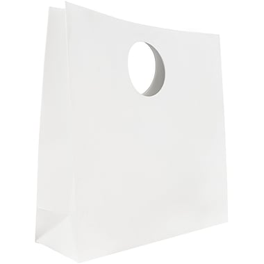 JAM Paper® Heavy Duty Matte Die Cut Gift Bag, Medium, 12 x 12 x 4, White, Sold individually (892DCWH)