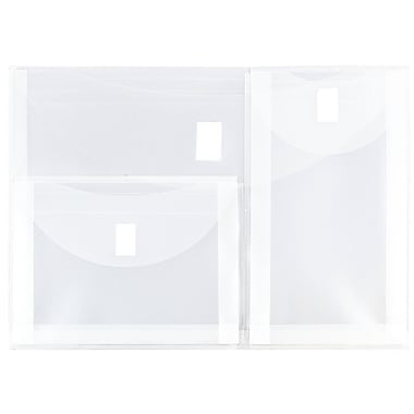 JAM Paper® Plastic 3 Pocket Envelopes, VELCRO® Brand Closure, Letter Booklet, 9.75 x 13, Clear Poly, 12/pack (B35318)