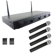 Pyle Pdwm4520 Wireless Microphone System, UFH quad Channel Fixed Frequency (4 Handheld Microphones)