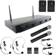 Pyle Pdwm4540 Wireless Microphone System, UFH quad Channel Fixed Frequency (2 Handheld, 2 Headset & 2 Lavalier Microphones)