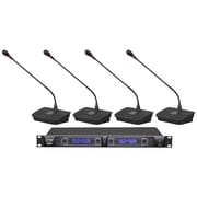 Pyle Pdwm4700 4-channel Desktop UFH Selectable Frequency Wireless Microphone System