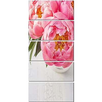 DesignArt 'Full Bloom Pink Peony Flowers' 5 Piece Photographic Print on Canvas Set WYF078279882116