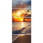 DesignArt 'Yellow Sunset Through Dark Clouds' 5 Piece Photographic Print on Canvas Set