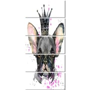 DesignArt 'Cute Black Dog w/ Crown' 5 Piece Graphic Art on Canvas Set