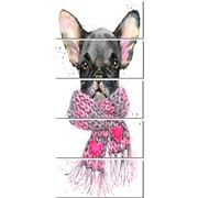 DesignArt 'Cute Puppy Dog w/ Pink Shawl' 5 Piece Painting Print on Canvas Set
