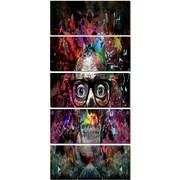 DesignArt 'Colorful Human Skull w/ Glasses' 5 Piece Graphic Art on Canvas Set
