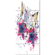 DesignArt 'Cute Kitten w/ Blue Stars' 5 Piece Graphic Art on Canvas Set