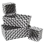 Evideco 4 Piece Woven Strap Storage Basket Set; Black