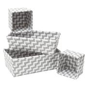 Evideco 4 Piece Woven Strap Storage Basket Set; Gray