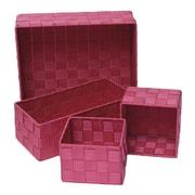 Evideco 4 Piece Checkered Storage Basket Set; Pink